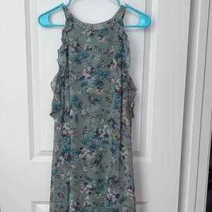 Xhilaration Green Cold Shoulder Floral Dress
